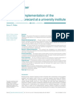 Design anDesign and implementation of the Balanced Scorecard at a university instituted Implementation of the Balanced Scorecard at a University Institute