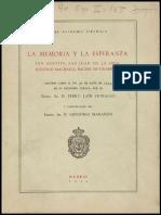 Pedro Laín Entralgo - La Memoria y La Esperanza
