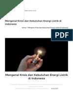 Mengenal Krisis Dan Kebutuhan Energi Listrik Di Indonesia