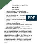 Brief Analysis of Fertilizer Industry of Pakistan