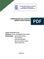 COMPOSIÇÃO DE CUSTOS PARA OBRAS RODOVIÁRIAS