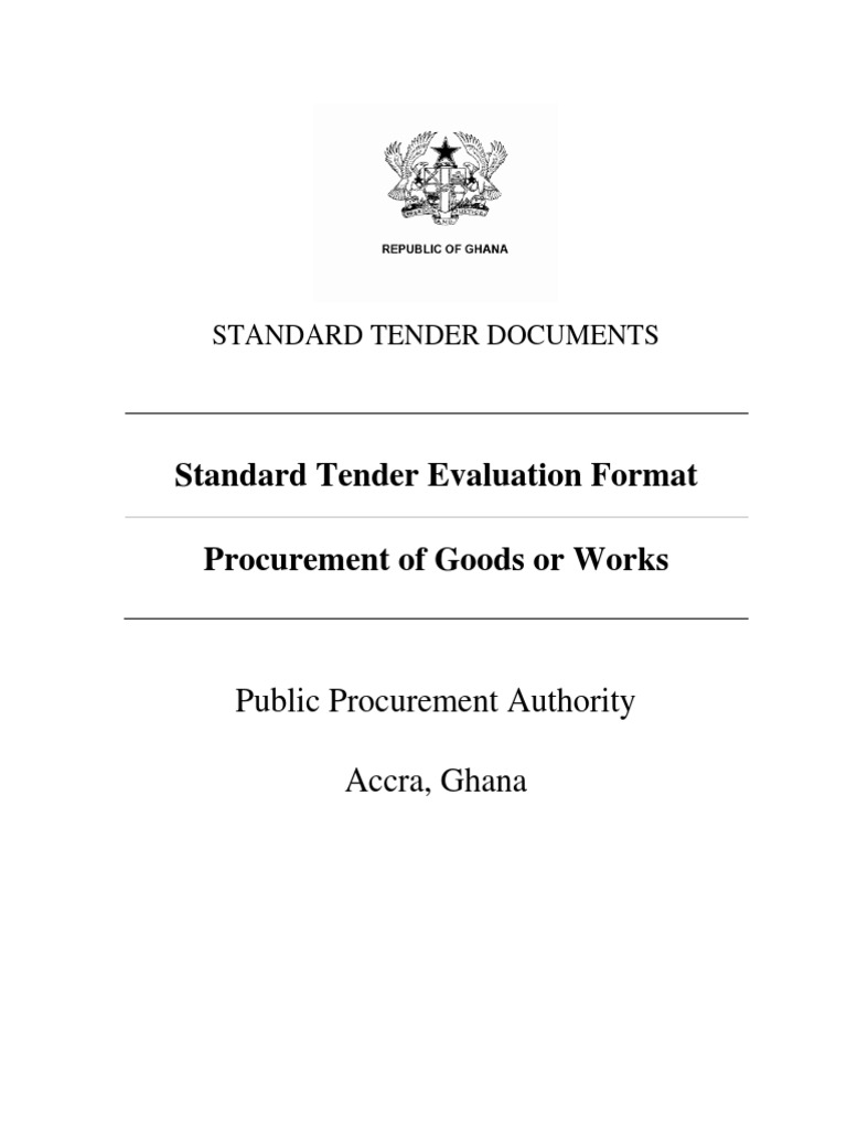 Standard Tender Evaluation Form for Good and Works | Exchange Rate