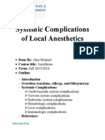 Systemic Complications of Local Anesthetics
