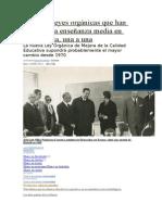 Las Siete Leyes Orgánicas Que Han Regulado La Enseñanza Media en Democracia