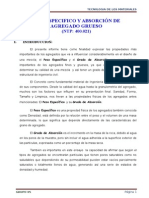 Peso Especifico y Absorción de Agr. Grueso