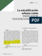 1.3. La Estratificación Urbana Como Indicador Socieconómico