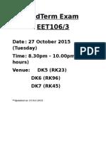 MidTerm Exam Timetable
