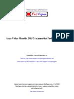 ResPaper Arya Vidya Mandir 2015 Mathematics Prelim Paper ICSE