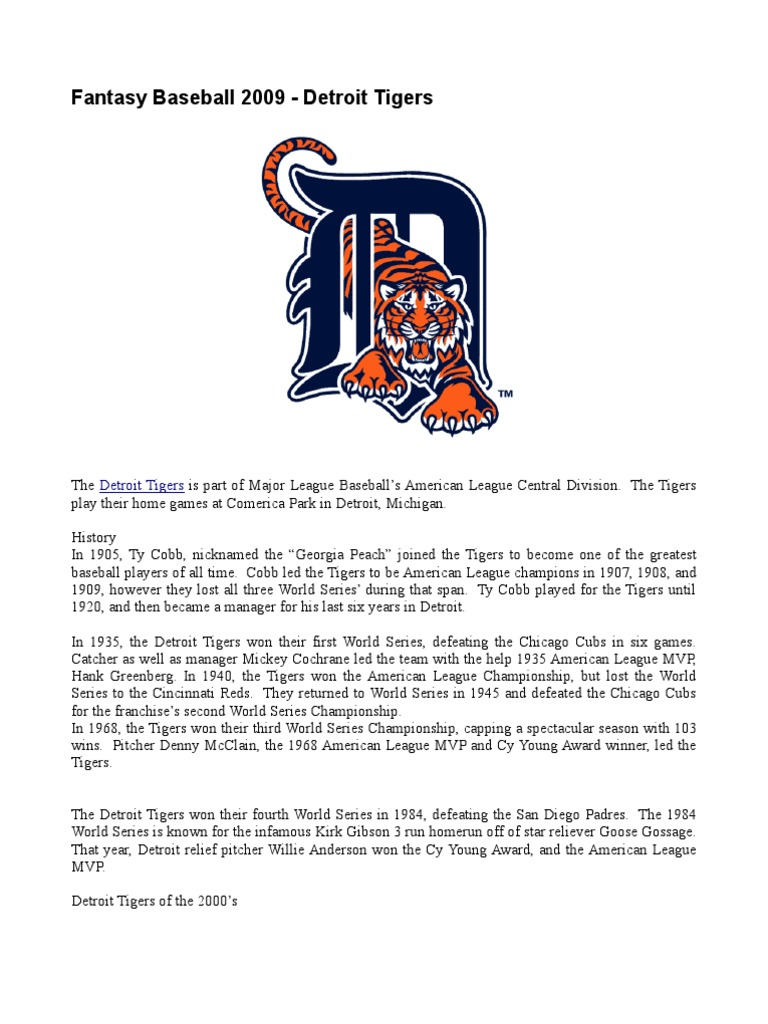 Fantasy Baseball 2009 - Detroit Tigers | Detroit Tigers