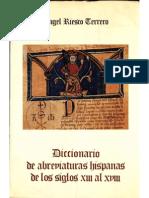 Angel Riesco Terrero Diccionario de Abreviaturas Hispanicas s XIII Al XVIII