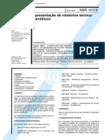NBR 10719-1989 - Apresentação de Relatórios Técnicos