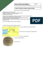 Exercício Sobre a Mesopotâmia