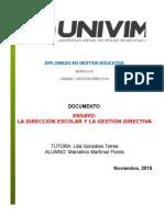 ENSAYO_ La Direccion Escolar y La Gestion Directiva