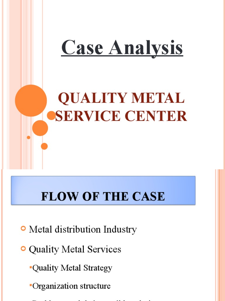 quality metals service center case analysis Oil analysis handbook for predictive equipment maintenance | 3 preface welcome to the first edition of the in-service oil analysis handbook the initial objective was.