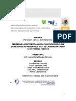 REDISEÑAR LA DISTRIBUCIÓN DE LA PLANTA DE RECICLAJE DE RESIDUOS NO PELIGROSOS (PET) DE LA EMPRESA CHECO´S, EN PARAISO TABASCO (2)