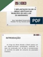PRÉ-PROJETO DE TCC NR-18 X CUSTOS DE IMPLANTAÇÃO