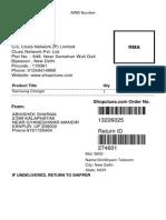 ShopClues RMA Details 274609