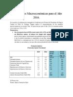 Proyecciones Macroeconómicas Para El Año 2016