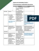 Cronograma de actvidades Sesión I
