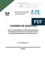 Prova Mestrado IQ Unicamp 2011-2s