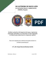 Sergio Edmundo Mendoza Calvillo Análisis Sustantivo Del Esquema de Tasas y Régimenes Especiales Aplicables en El Impuesto Al Valor Agregado