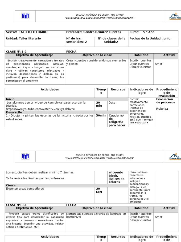 Formato Planificación TALLER LITERARIO 5