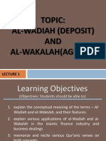 Lecture 1- Wadiah and Wakalah