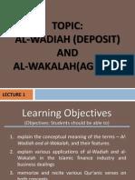 Lecture 1- Wadiah and Wakalah