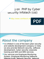 Training on PHP by Cyber Security Infotech (Csi)