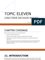 Topic 11 - Long-Term Decision Making