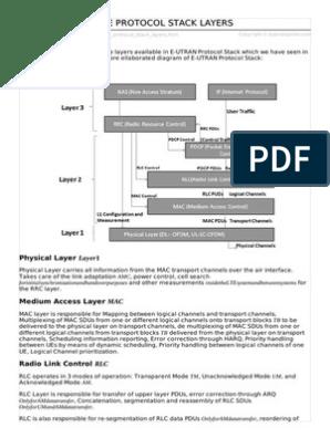 Lte Protocol Stack Layers | Communications Protocols | Error