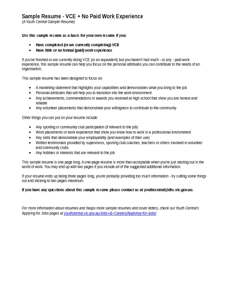 Youthcentral Resume Vce No Work Exp Jan2015 Resume