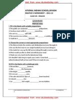 Class 8 English Worksheet - Grammer Prepositions