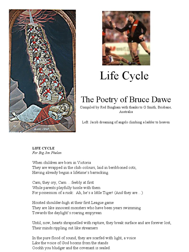 """life cycle bruce dawe Bruce dawe, a highly regarded dawe's scepticism of family values is reflected in his 1960's poem, """"life-cycle"""" in which he critiques the idea."""