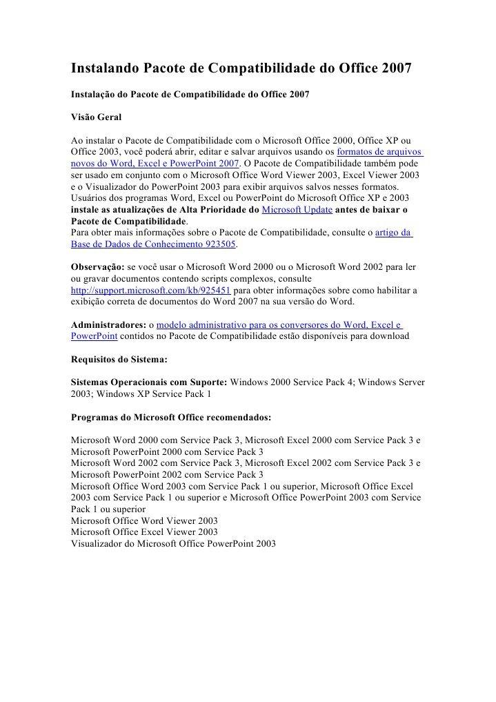 PACOTE DE DO 2007 OFFICE COMPATIBILIDADE BAIXAR