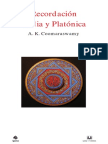 170967994 Coomaraswamy Recordacion India y Platonica