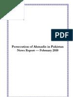 Monthly Newsreport - Ahmadiyya Persecution in Pakistan - February, 2010