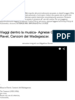 Viaggi dentro la musica- Agnese Gatto:Maurice Ravel, Canzoni del Madagascar. | l'analfabeta