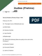 General Studies (Prelims) Paper- 1989