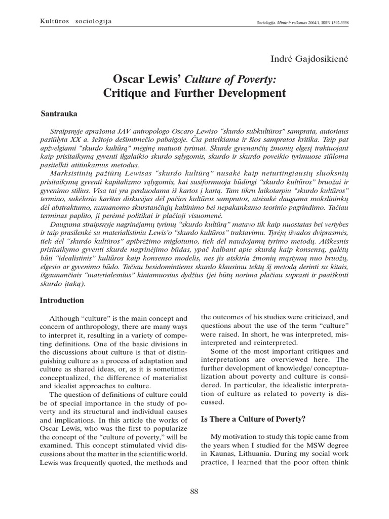 oscar lewis culture powerty poverty concept