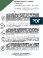 ORDENANZA MUNICIPAL N°330-MVES