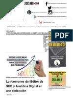 Clases de Periodismo, Las funciones del editor de SEO y Analítica Digital en una redacción