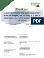 Certificado Curso de NR 10