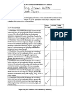cooperating site administrator evaluation of candidate