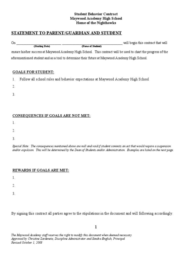 student behavior contract sample