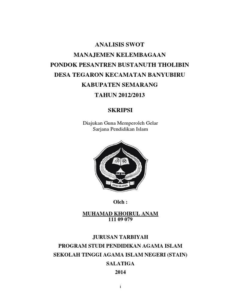 Analisis Swot Manajemen Kelembagaan Pondok Pesantren