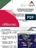 Optimización De Explotación En Vetas Angostas, Uso De Pernos Y Mallas; Y Voladura Masiva - Eusterio Huerta León