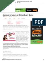 Summary of Leisure by William Henry Davies – Myeduz