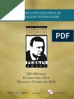 40th Graham Perkin Journalist of the Year Award