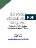 22 Petua Mudah Hafal Al-Quran